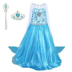 2018 Elsa Costume Princess Party Girls Dress with Crown and