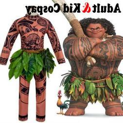 3x Moana Maui Tattoo Shirt+Pant+Grass Dress Halloween Adult