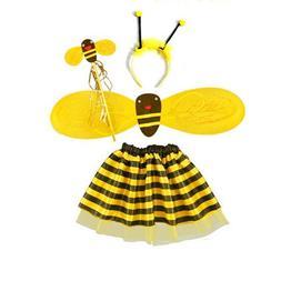 4Pc Bumble Bee Honey Girls <font><b>Kids</b></font> Fairy Ha