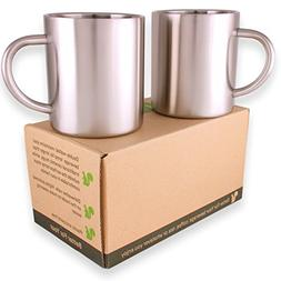 Stainless Steel Double Wall Coffee Mugs/Tea Cups, Set of 2,
