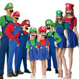 Adult Kids Super Mario Costume Luigi Bros Plumber Brothers F