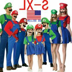 Adult Mens Kid Super Mario & Luigi Fancy Dress set Cosplay H