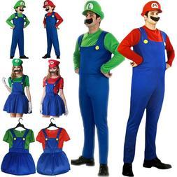 Adults Kids Super Mario Luigi Bros Cosplay Fancy Dress Hallo