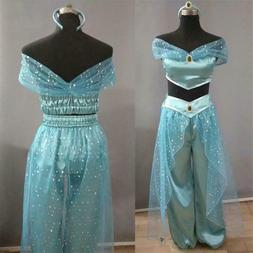 Aladdin Jasmine Princess Cosplay Women Girl Fancy Dress Up h