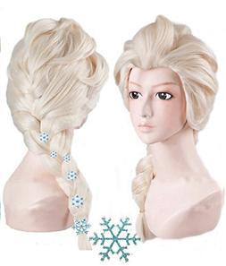 Anogol Hair Cap+ Kids Blonde Cosplay Wig Party Wigs Braid Wi