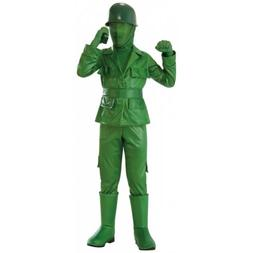 Army Man Costume Kids Green Plastic Toy Soldier Halloween Fa