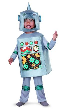 Artsy Heartsy Retro Robot Costume, Silver/Red/Blue/Yellow, L
