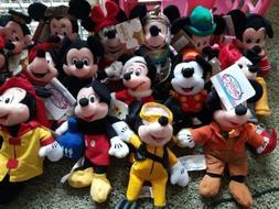 Assorted Mickey Minnie Goofy Donald Pluto Disney Store Beani