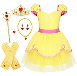 AmzBarley Belle Costume Dress for Girls Kids Fancy Party Dre