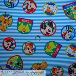 BonEful Fabric FQ Cotton Quilt Blue White Stripe Red Disney