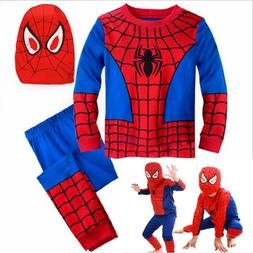 Boys Kids 3Pcs Spiderman Fancy Dress Outfits Cosplay Party C