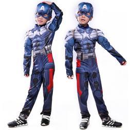 Captain America Cosplay Costume Kids Boys Jumpsuit + Head Ma
