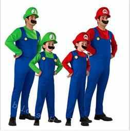 Cartoon Mens Super Mario Luigi Brothers Cosplay Costume Plum