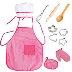 Funslane Chef Set for Kids with Apron for Girls, Chef Hat, C