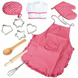 Chef Set for Kids,11pcs Kitchen Costume Role Play Kits, Girl