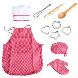 FunsLane Kids Apron for Girls Cooking and Baking Set, Chef H