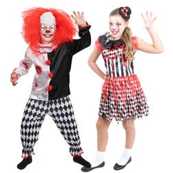 Killer Clown Halloween Costumes For Girls.Child Evil Killer Clown Costume Boys Gir