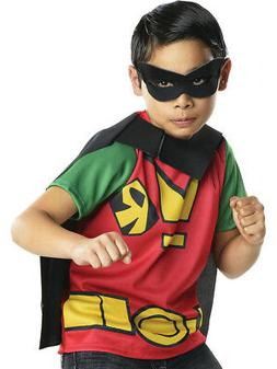 Child's Boys Teen Titans Go Cartoon Robin Shirt Cape Mask Co