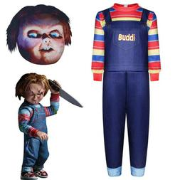 Halloween Kids Chucky Play Costume Mask Party Clothes Fancy