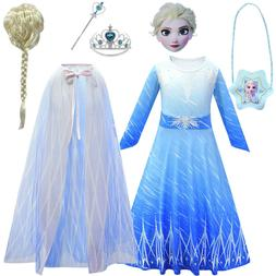 Childrens Kids Girls Queen Elsa 2 Fancy Costume Dress +Cape