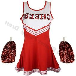CHILDRENS KIDS GIRLS ZOMBIE RED CHEERLEADER FANCY DRESS COST