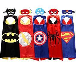 Comics Cartoon Superhero Costumes Satin Capes Felt Masks 5Pc