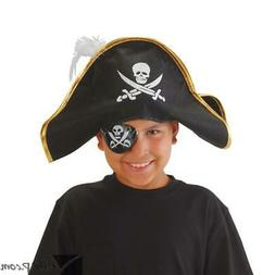 Adult Costume Black Pirate Hat with Gold Trim And White Feat