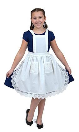 Deluxe Girls Lace Victorian Maid Costume Kids Full White Apr
