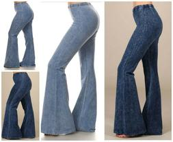 Chatoyant Denim Effect Hippie Bell Bottom Stretch Pants Yoga