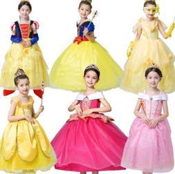 Disney Kids Girl Bell Aurora White Snow Princess Dress Cospl