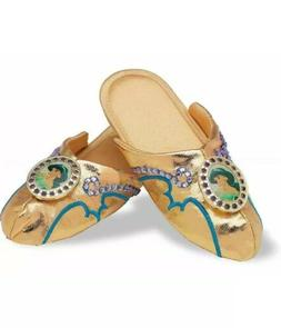 Disney Princess Jasmine Gold Slippers Shoes Aladdin Child Co