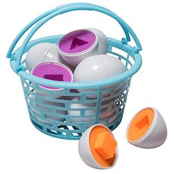 Prextex Easter Eggs Educational Shaped Puzzle in a Basket  C