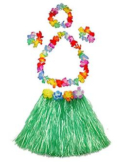 Fortuning's JDS Girl's elastic Hawaiian hula dancer grass sk
