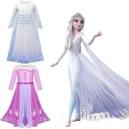 Elsa Fancy Dress Girls Kids Frozen 2 Ice Queen Cosplay Costu