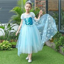 Elsa Princess Kids Costume Party Cosplay Outfit Girls Tulle