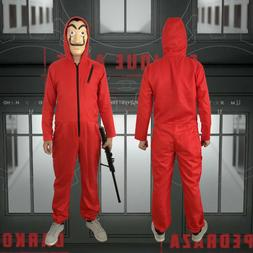 Mens Women's Hallowen Cosplay Costume Funny Red Jumpsuit Fas