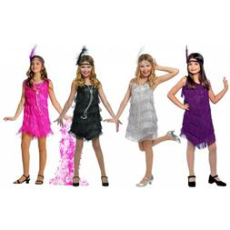 Flapper Costume Kids Roaring 20s Halloween Fancy Dress