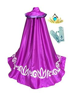 Frozen Anna ELSA Coronation Costume Girl's Long Cape Cloak +