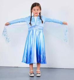 Princess Elsa Queen Kids Girls Fancy Dress Costume Cosplay B