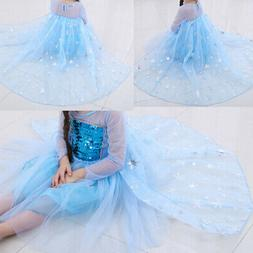 Frozen Queen Elsa Princess Dress Up Cosplay Party Fancy Cost