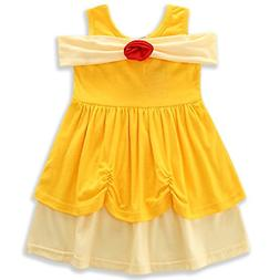 AmzBarley Girls Belle Dress Princess Costumes Kids Birthday