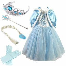 Girls Cosplay  Elsa Costume Kids Princess Anna Party Dresses