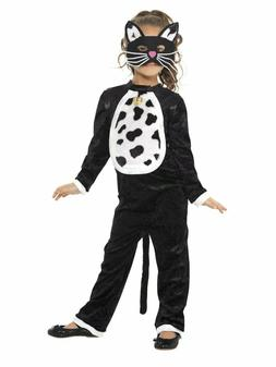 Girls Cute Cat Costume Plush Bodysuit with Bell & Mask Hallo