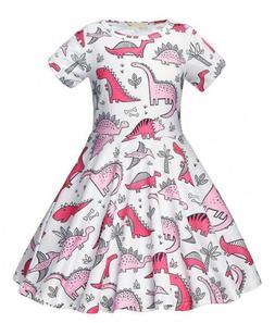 AmzBarley Girls Dinosaur Dress Kids Party Dresses Animal Car