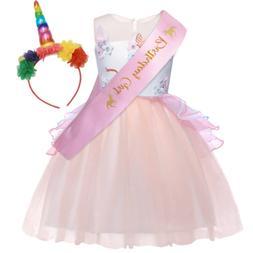 AmzBarley Girls Flower Unicorn Costume Princess Pageant Part