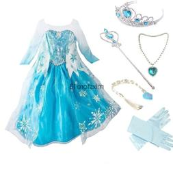 Girls Frozen Elsa Princess Dress Kids Snow Queen Party Costu