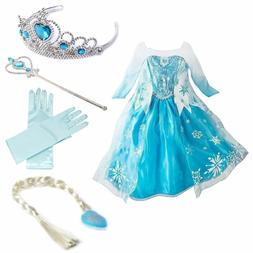 Kids Baby Girls Princess Queen Elsa Cosplay Costume Party Fa
