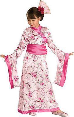 Girls Geisha Princess Kimono Costume Fancy Dress Pink Japane