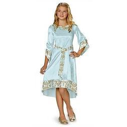 Girls Maleficent Costume Blue Aurora Fancy Dress Child Gown
