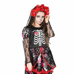 Girls Skeleton Costume Kids Halloween Zombie Bride Fancy Dre